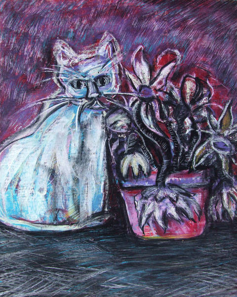 Pastel - Kitty With Flowers by Katt Yanda