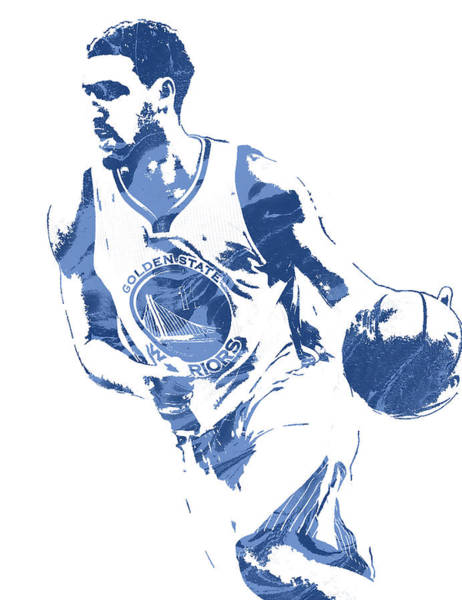 Golden Mixed Media - Klay Thompson Golden State Warriors Pixel Art 3 by Joe Hamilton