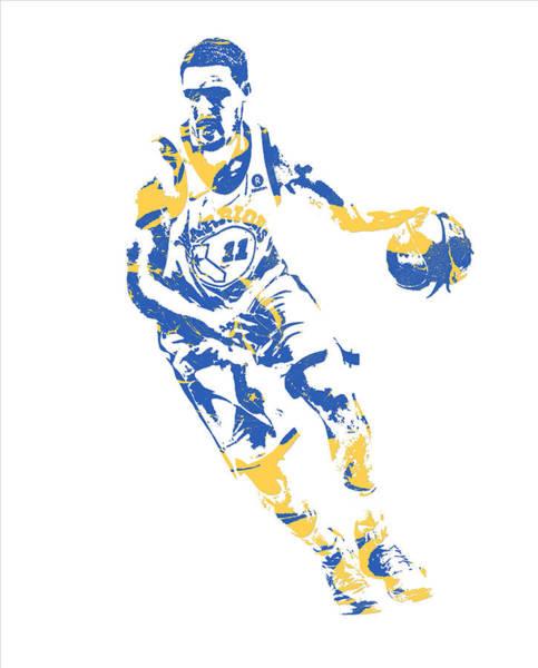 Golden Mixed Media - Klay Thompson Golden State Warriors Pixel Art 50 by Joe Hamilton