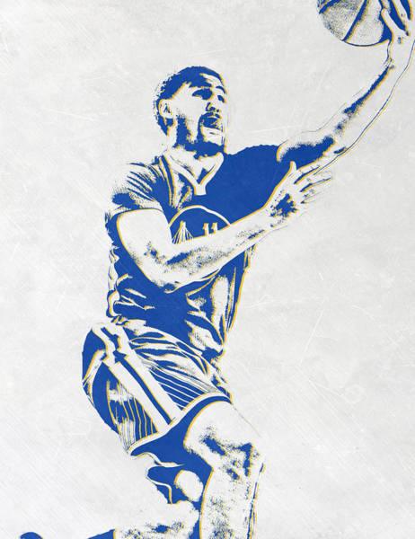 Golden Mixed Media - Klay Thompson Golden State Warriors Pixel Art by Joe Hamilton