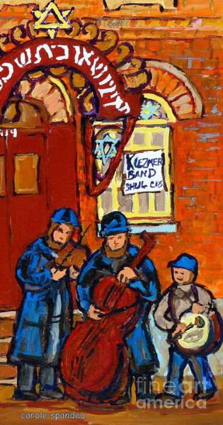 Klezmer Band Wall Art - Painting - Klezmer Band Jewish Music Bagg Street Synagogue Jewish Art Carole Spandau Canadian Artist by Carole Spandau
