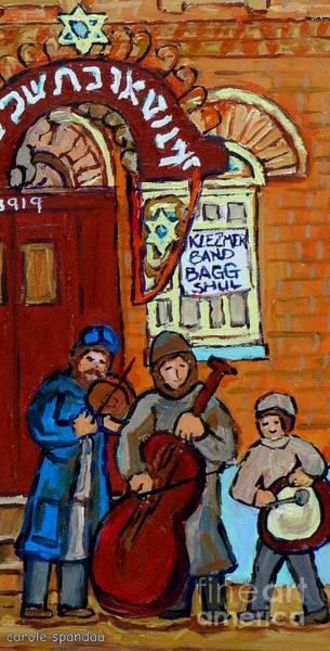Klezmer Band Wall Art - Painting - Klezmer Band Live Performance At Bagg Synagogue Montreal Street Scene Jewish Art Carole Spandau      by Carole Spandau