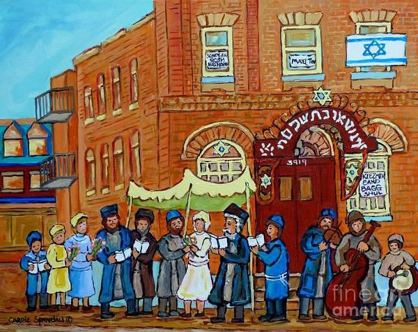 Painting - Klezmer Band Street Musicians Under The Chupa Wedding Bagg Street Jewish Art Carole Spandau          by Carole Spandau