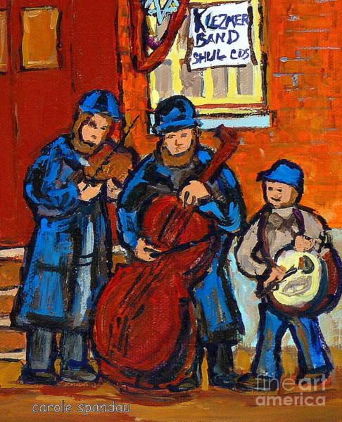 Klezmer Band Wall Art - Painting - Klezmer Band Street Performance Jewish Musicians Live Band Jewish Art Carole Spandau Canadian Artist by Carole Spandau
