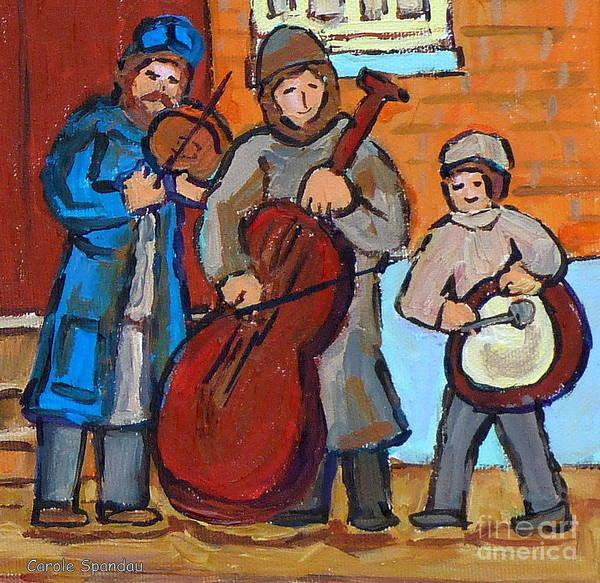 Klezmer Band Wall Art - Painting - Klezmer Band Three Musicians Street Performance Montreal Street Scene Jewish Art Carole Spandau      by Carole Spandau