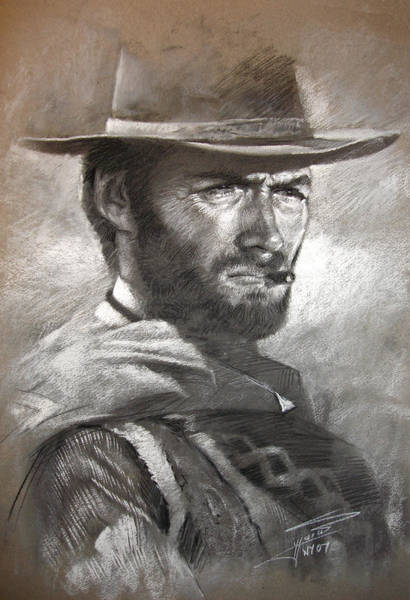 Portraits Drawing - Klint Eastwood by Ylli Haruni