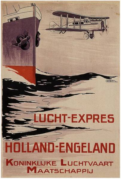 Wall Art - Painting - Klm - Royal Dutch Airlines Aircraft Flying Over A Steamliner Ship - Vintage Advertising Poster by Studio Grafiikka
