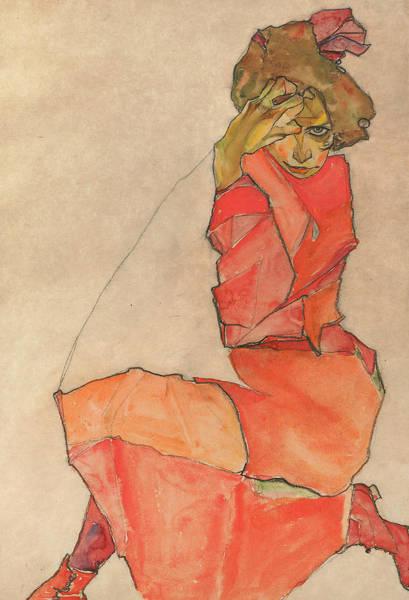 Wall Art - Drawing - Kneeling Female In Orange-red Dress by Egon Schiele