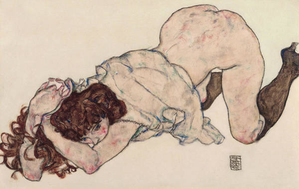 Austrian Drawing - Kneeling Girl, Resting On Both Elbows by Egon Schiele