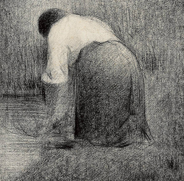 Crayon Drawing - Kneeling Woman by Georges Pierre Seurat