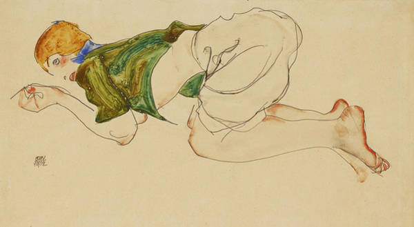 Having Sex Painting -   Kniende Frau by Egon Schiele