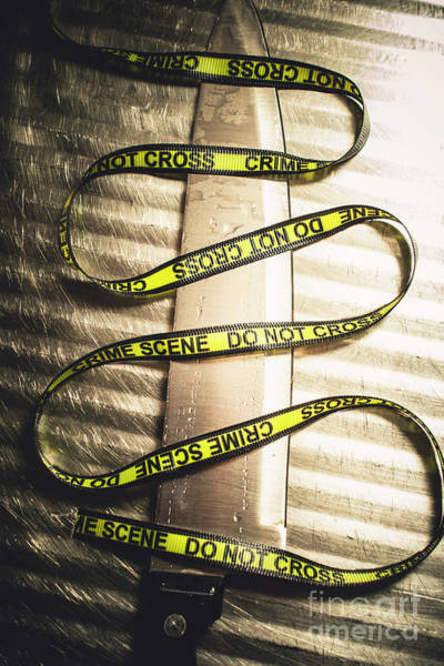 Case Wall Art - Photograph - Knife With Crime Scene Ribbon On Metal Surface by Jorgo Photography - Wall Art Gallery