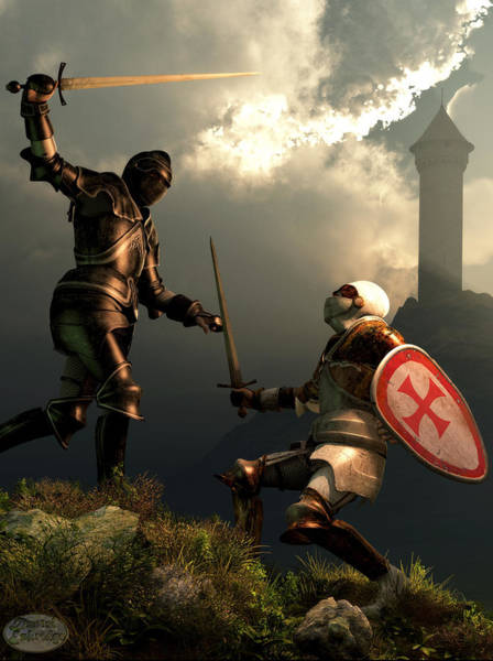 Digital Art - Knight Fight by Daniel Eskridge