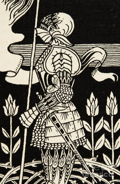 Knights Drawing - Knight Of Arthur, Preparing To Go Into Battle, Illustration From Le Morte D'arthur By Thomas Malory by Aubrey Beardsley