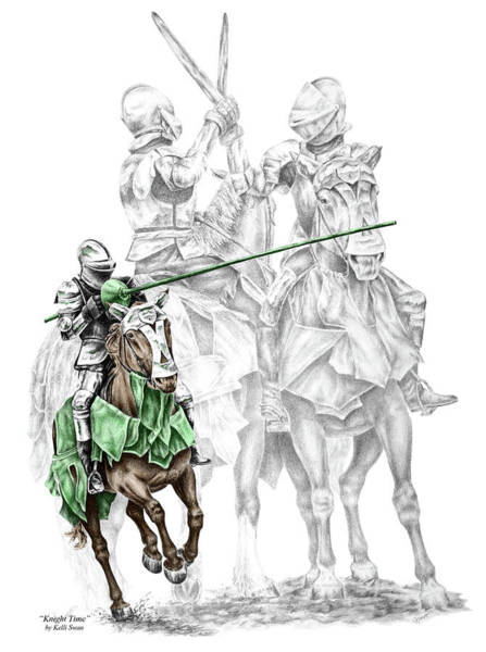 Renaissance Drawing - Knight Time - Renaissance Medieval Print Color Tinted by Kelli Swan