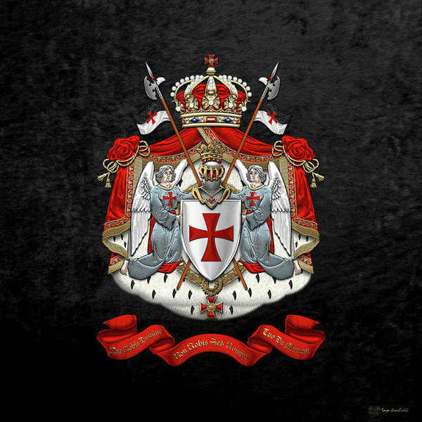 Digital Art - Knights Templar - Coat Of Arms Over Black Velvet by Serge Averbukh