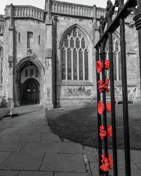Photograph - Knitted Poppies On A Church Iron Gate by Jacek Wojnarowski