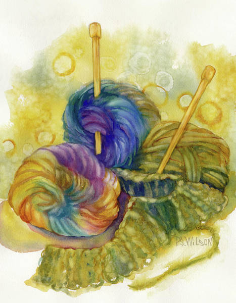 Needles Painting - Knitting by Peggy Wilson