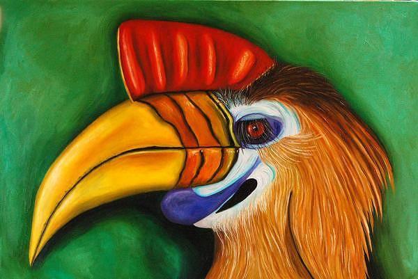 Hornbill Painting - Knobbed Hornbill by Leah Saulnier The Painting Maniac