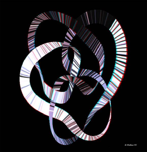 Stereoscopy Digital Art - Knotplot 2 - Use Red-cyan 3d Glasses by Brian Wallace