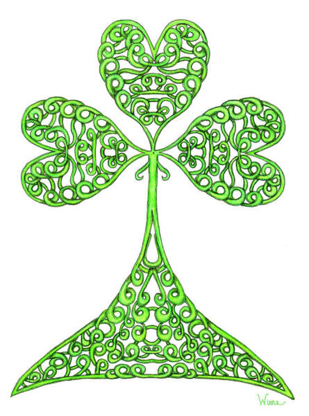 Drawing - Knotted Shamrock by Lise Winne