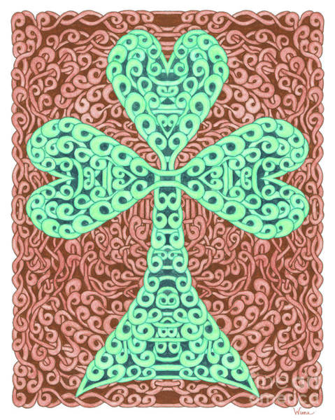 Drawing - Knotted Shamrock With Brown Background by Lise Winne