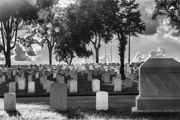 Photograph - Knoxville National Cemetery Black And White by Sharon Popek