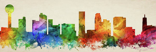 Wall Art - Digital Art - Knoxville Skyline Panorama Ustnkx-pa03 by Aged Pixel