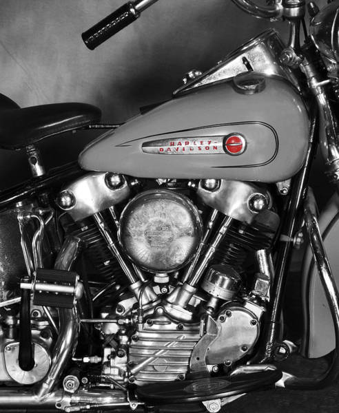 Harley Davidson Black And White Wall Art - Photograph - Knucklehead by Mark Rogan
