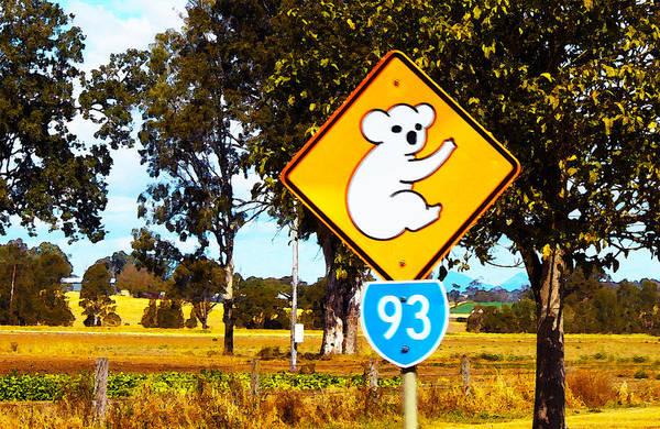 Digital Art - Koala Sign Down Under by Susan Vineyard