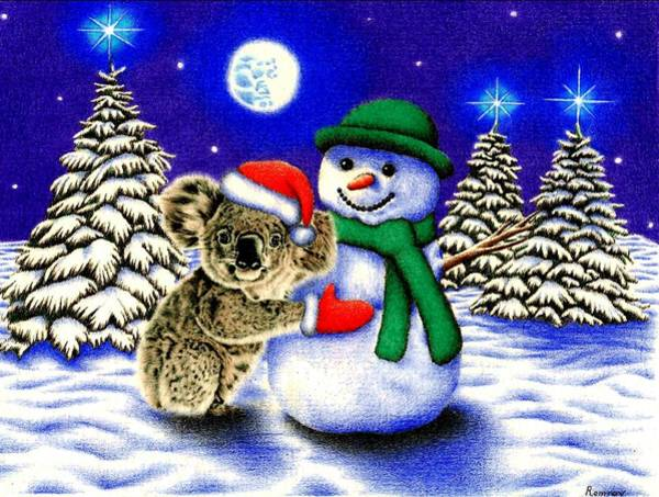 Scarf Drawing - Koala With Snowman by Remrov
