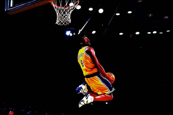 Shooting Mixed Media - Kobe Bryant In Flight 08a by Brian Reaves