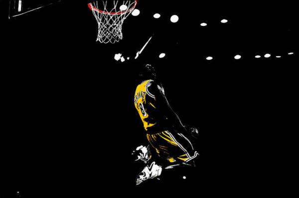 Shooting Mixed Media - Kobe Bryant In Flight 08c by Brian Reaves
