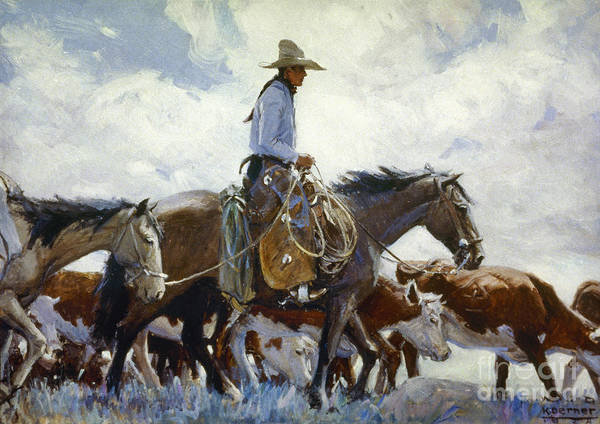 Photograph - Koerner: Cowboy, 1920 by Granger