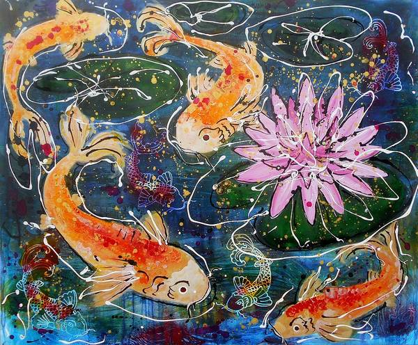 Lilly Pad Painting - Koi  by Angie Wright