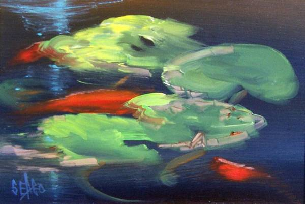 Lilly Pad Painting - Koi At Play by Sally Seago