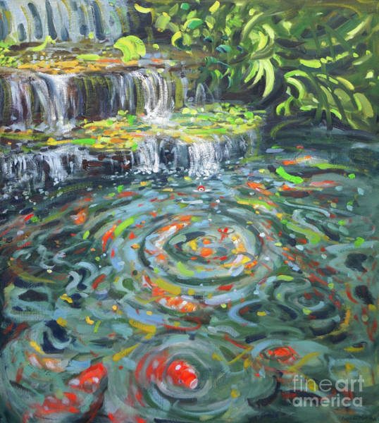 Wall Art - Painting - Koi Carp, Thailand  by Andrew Macara
