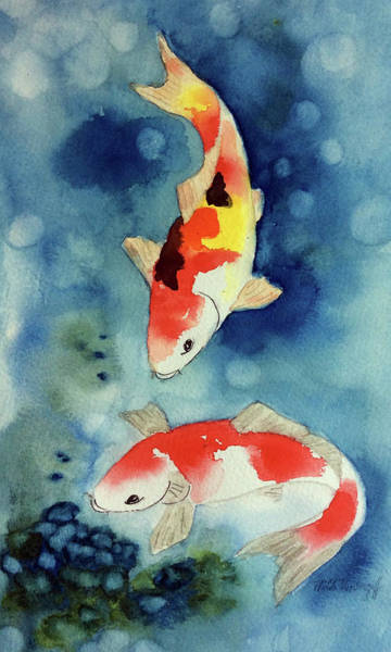 Painting - Koi Fish 3  by Hilda Vandergriff