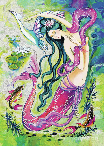 Painting - Koi Fish Mermaid by Eva Campbell