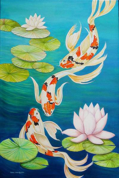 Wall Art - Painting - Koi Fish Pond by Carol Sabo