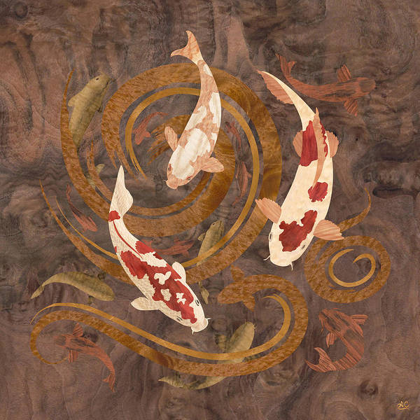 Collage Mixed Media - Koi Fish Wood Art by Vincent Doan