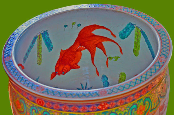 Made In Japan Wall Art - Photograph - Koi. Huge Ancient Decorative Vase. by Andy Za