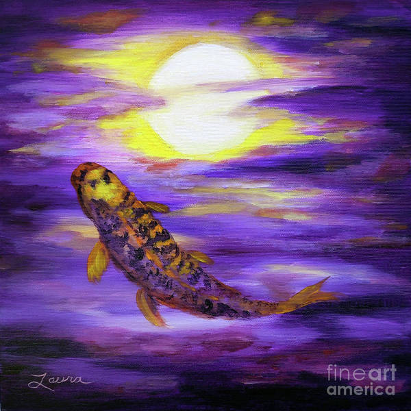 Full Moon Painting - Koi In Purple Twilight by Laura Iverson