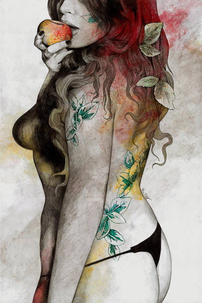Sensual Drawing - Koi No Yokan - Erotic Drawing, Sexy Tattoo Girl In Thong Biting An Apple by Marco Paludet