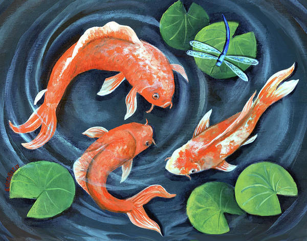 Dragon Fly Painting - Koi Pond by Elaine Hodges