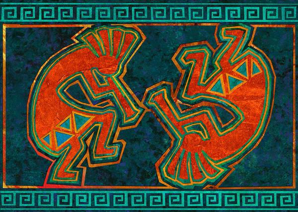 Petroglyphs Digital Art - Kokopelli Dancers by Linda Henry
