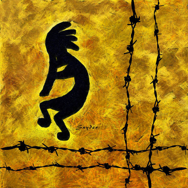 Photograph - Kokopelli On The Fence by Barbara Snyder
