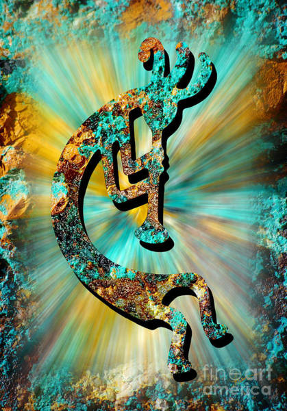 Kokopelli Photograph - Kokopelli Turquoise And Gold by Vicki Pelham
