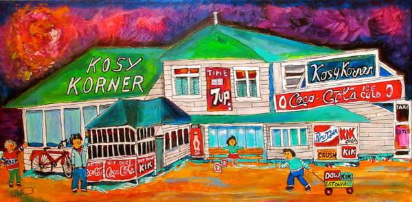 Wall Art - Painting - Kosy Korner Community Plage Laval by Michael Litvack
