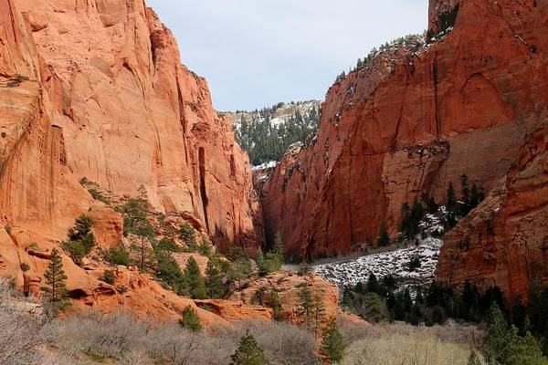 Photograph - Kolob Canyon Dusted With Snow  by Christy Pooschke